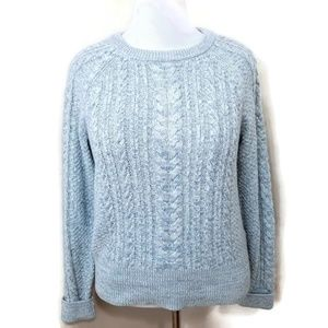 GAP FOR GOOD SWEATER CREWNECK CABLEKNIT BLUE WHITE